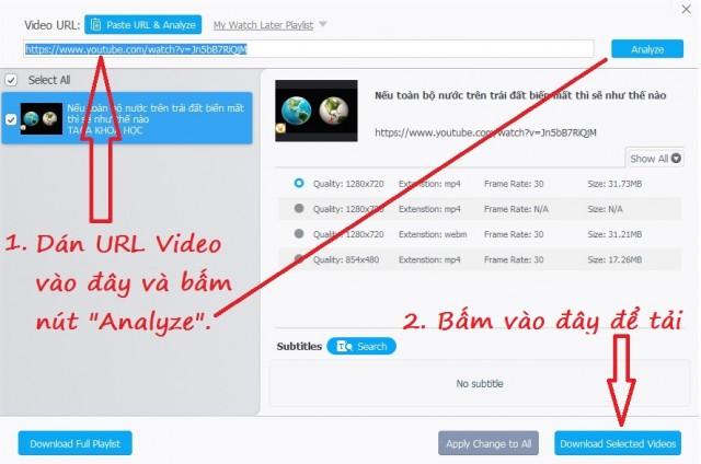 Cách tải video trên Facebook, Youtube bằng WinX YouTube Downloader